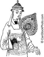 Chinese Fan, vintage engraving.