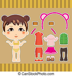 Chinese Fashion Girl - Cute Chinese fashion paper doll girl...