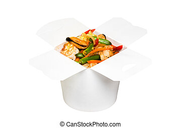 Chinese fast food dish in white paper box, isolated on white...