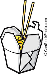 chinese fast food (chinese takeout box, opened take out...