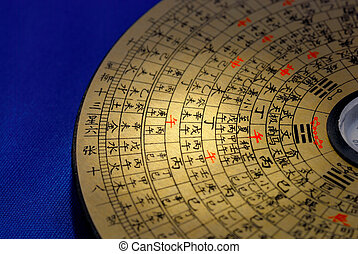 Chinese Feng Shui compass focused on the Chinese word %u201Cafternoon%u201D