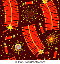 Chinese fireworks seamless pattern.Color illustration for...