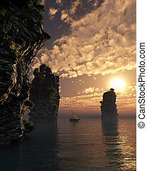Chinese Fishing Boat Sailing Through Giant Sea Stacks at Sunset
