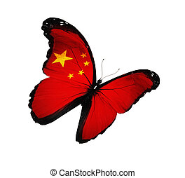Chinese flag butterfly flying, isolated on white background