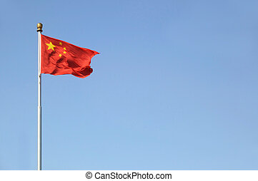 Chinese Flag - Chinese national flag on flag pole against a ...