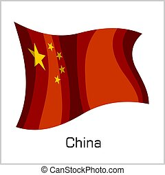 Chinese flag, flag of China vector illustration