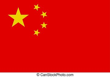 Chinese flag, flat layout, vector illustration