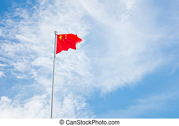 Chinese flag floating on the wind