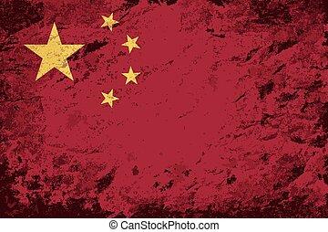 Chinese flag Grunge background.