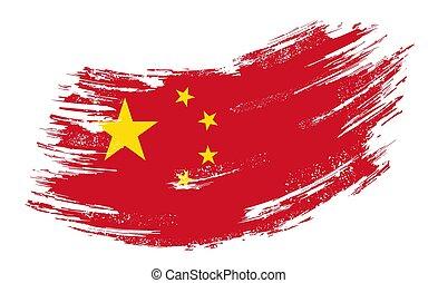 Chinese flag grunge brush background. Vector illustration.