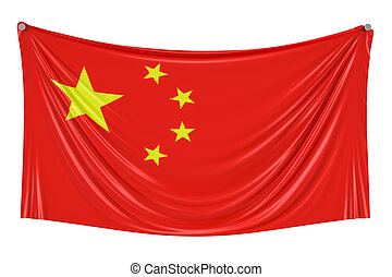 Chinese flag hanging on the wall, 3D rendering