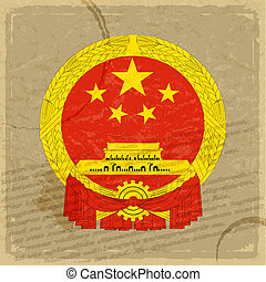 Chinese flag on an old sheet of paper