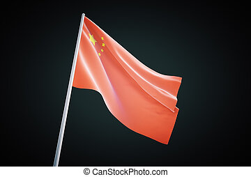 Chinese flag on black background