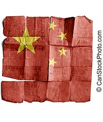 Chinese Flag on old paper.