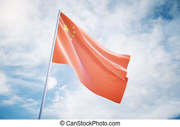Chinese flag on sky background - Waving Chinese flag...