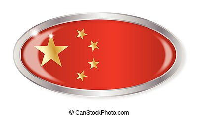 Chinese Flag Oval Button