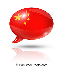 Chinese flag speech bubble - three dimensional China flag in...