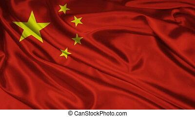 Chinese flag - The flag of China waving
