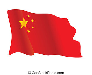Chinese flag waving in the wind