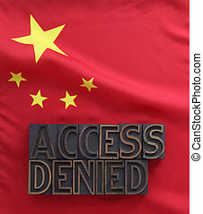 Chinese flag with access denied - the words access denied in...