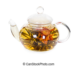 Chinese flowering tea in a glass teapot