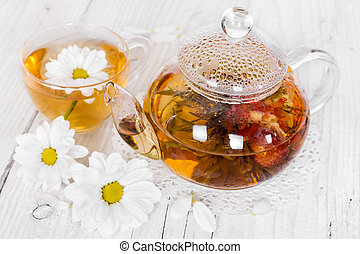Chinese flowering tea with camomile