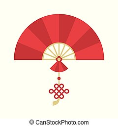 Chinese folding handheld fan with chinese knot for lunar new year, flat design