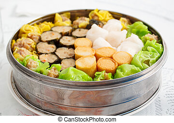 Chinese food appetizer, mixed dim sum. - chinese food...