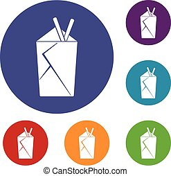 Chinese food box icons set