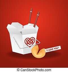 chinese food box with chopsticks and fortune cookie -...