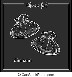 Chinese food chalk sketch dim sum for China Asian cuisine...