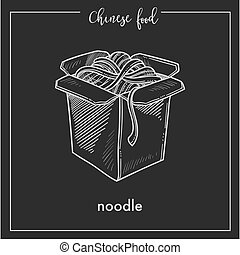 Chinese food chalk sketch noodles box for China Asian cuisine restaurant menu or recipe design on black background