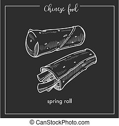 Chinese food chalk sketch spring roll for China Asian...