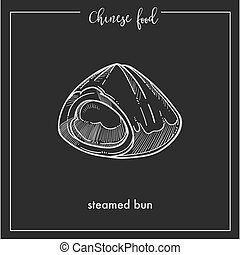 Chinese food chalk sketch steamed bun for China Asian...