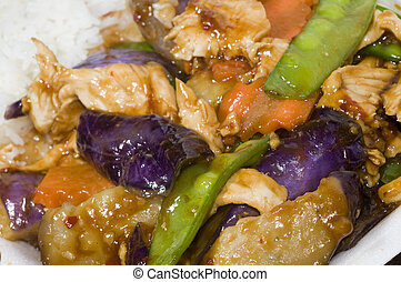 chinese food chicken with eggplant mixed vegetables