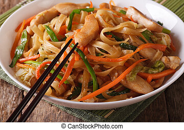 Chinese Food: Chow mein with chicken and vegetables close-up.