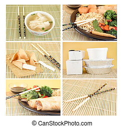 chinese food - collage of different Asian food dishes for...