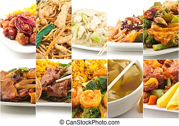 Chinese Food Collage - Various popular Chinese food take out...