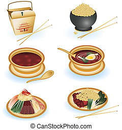 Chinese food collection - A collection of six different...