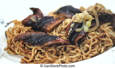 Chinese food eel stir fry noodle