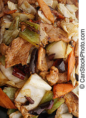 Chinese food. Hot pork with vegetables