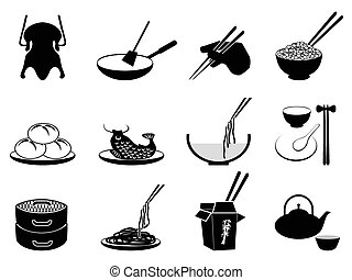 Chinese food icons - isolated black Chinese food icons set...