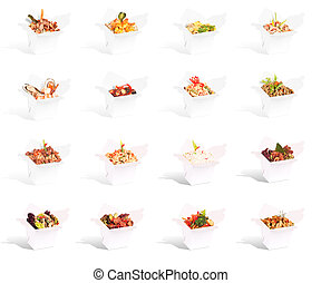 Chinese food in a container collection isolated on a white...