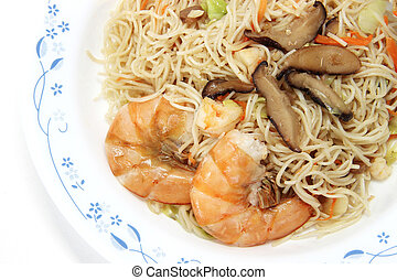 Chinese food,  noodles with shrimp