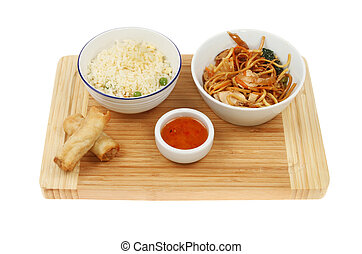 Chinese food on a board