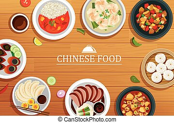 chinese food on a wooden background. Vector chinese food top view.