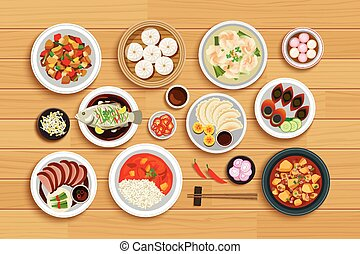 Chinese food on top view wooden background.