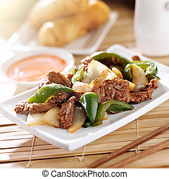 chinese food, -, pepř, hovězí, v, restaurace