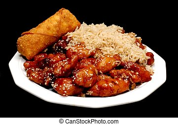 Chinese Food, Sesame Chicken, Isolated on Black