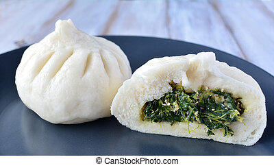 Chinese food specialty, dumpling with vegetarian filling.